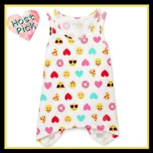 Girls Sleeveless Fun Emojis Tank Top White Sz 6